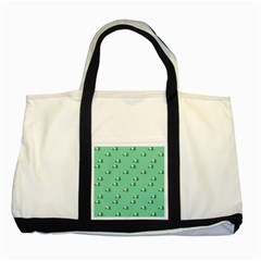 Pink Flowers Green Big Two Tone Tote Bag