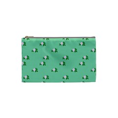 Pink Flowers Green Big Cosmetic Bag (small)