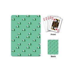 Pink Flowers Green Big Playing Cards (mini)