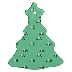 Pink Flowers Green Big Christmas Tree Ornament (two Sides)