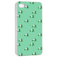 Pink Flowers Green Big Apple Iphone 4/4s Seamless Case (white)