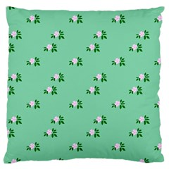 Pink Flowers Green Big Large Cushion Case (two Sides)