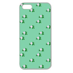 Pink Flowers Green Big Apple Seamless Iphone 5 Case (clear)