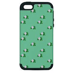 Pink Flowers Green Big Apple Iphone 5 Hardshell Case (pc+silicone)