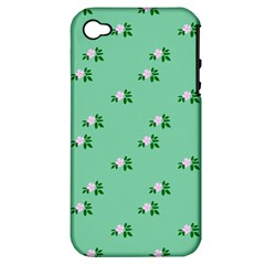 Pink Flowers Green Big Apple Iphone 4/4s Hardshell Case (pc+silicone)