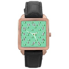 Pink Flowers Green Big Rose Gold Leather Watch