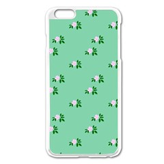 Pink Flowers Green Big Apple Iphone 6 Plus/6s Plus Enamel White Case