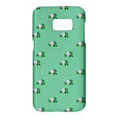 Pink Flowers Green Big Samsung Galaxy S7 Hardshell Case