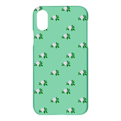 Pink Flowers Green Big Apple Iphone X Hardshell Case
