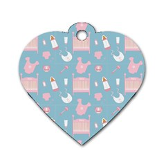 Baby Pattern Dog Tag Heart (one Side)