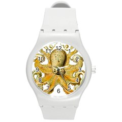Gold Octopus Round Plastic Sport Watch (m)