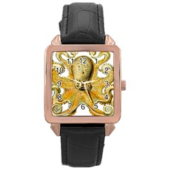 Gold Octopus Rose Gold Leather Watch