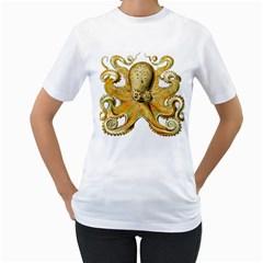 Gold Octopus Women s T Shirt (white)