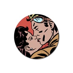 Retrocouplekissing Rubber Round Coaster (4 Pack)