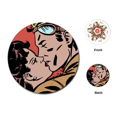 Retrocouplekissing Playing Cards (round)