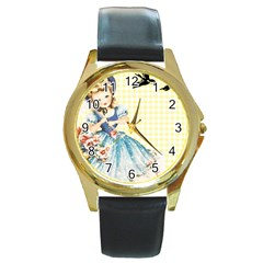 Girl 1370912 1280 Round Gold Metal Watch