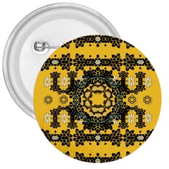 Ornate Circulate Is Festive In A Flower Wreath Decorative 3  Buttons