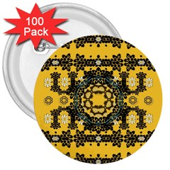 Ornate Circulate Is Festive In A Flower Wreath Decorative 3  Buttons (100 Pack)