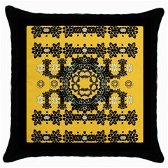 Ornate Circulate Is Festive In A Flower Wreath Decorative Throw Pillow Case (black)