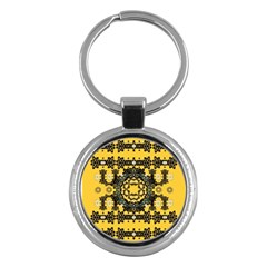 Ornate Circulate Is Festive In A Flower Wreath Decorative Key Chains (round)