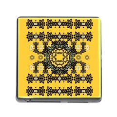Ornate Circulate Is Festive In A Flower Wreath Decorative Memory Card Reader (square)