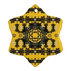 Ornate Circulate Is Festive In A Flower Wreath Decorative Snowflake Ornament (two Sides)