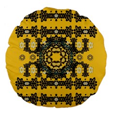 Ornate Circulate Is Festive In A Flower Wreath Decorative Large 18  Premium Flano Round Cushions