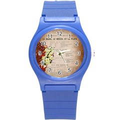 Letter Floral Round Plastic Sport Watch (s)