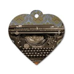 Typewriter Dog Tag Heart (one Side)