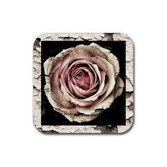 Vintage Rose Rubber Square Coaster (4 Pack)