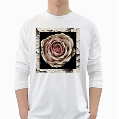 Vintage Rose White Long Sleeve T Shirts