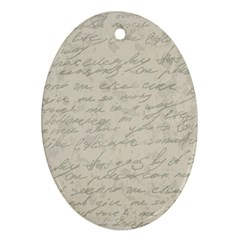 Handwritten Letter 2 Oval Ornament (two Sides)