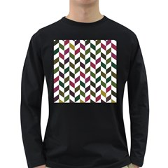 Zigzag Chevron Pattern Green Purple Long Sleeve Dark T Shirts