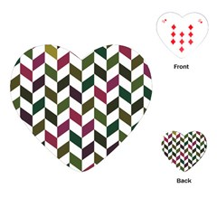 Zigzag Chevron Pattern Green Purple Playing Cards (heart)