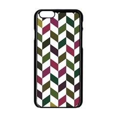 Zigzag Chevron Pattern Green Purple Apple Iphone 6/6s Black Enamel Case