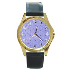 Dot Blue Round Gold Metal Watch
