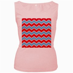 Zigzag Chevron Pattern Blue Red Women s Pink Tank Top