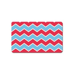 Zigzag Chevron Pattern Blue Red Magnet (name Card)