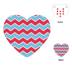 Zigzag Chevron Pattern Blue Red Playing Cards (heart)