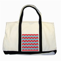 Zigzag Chevron Pattern Blue Red Two Tone Tote Bag