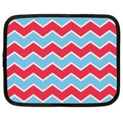 Zigzag Chevron Pattern Blue Red Netbook Case (xxl)