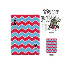 Zigzag Chevron Pattern Blue Red Playing Cards 54 (mini)