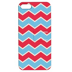 Zigzag Chevron Pattern Blue Red Apple Iphone 5 Hardshell Case With Stand