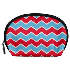 Zigzag Chevron Pattern Blue Red Accessory Pouches (large)