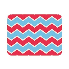 Zigzag Chevron Pattern Blue Red Double Sided Flano Blanket (mini)