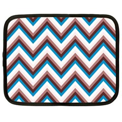 Zigzag Chevron Pattern Blue Magenta Netbook Case (large)