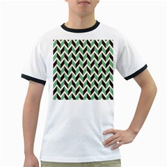Zigzag Chevron Pattern Green Black Ringer T Shirts
