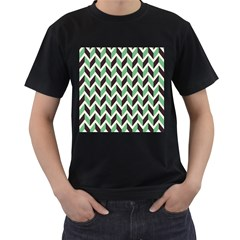 Zigzag Chevron Pattern Green Black Men s T Shirt (black) (two Sided)