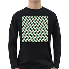 Zigzag Chevron Pattern Green Black Long Sleeve Dark T Shirts