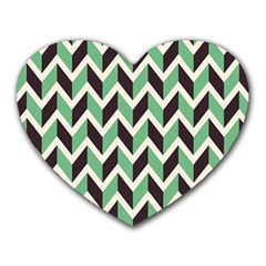 Zigzag Chevron Pattern Green Black Heart Mousepads